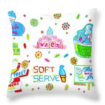 Throw Pillow featuring the painting Soft Serve by Beth Saffer