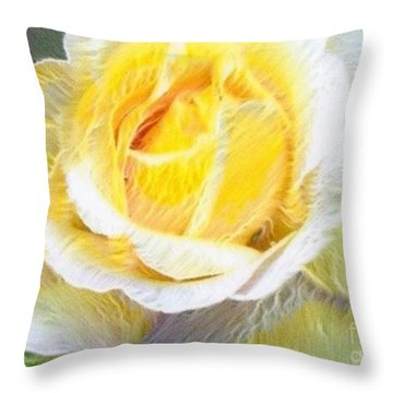 Softly Blooming Rose Throw Pillow by AE Hansen