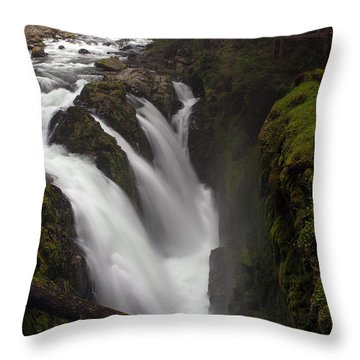 Sol Duc Falls Throw Pillow by Mike Reid