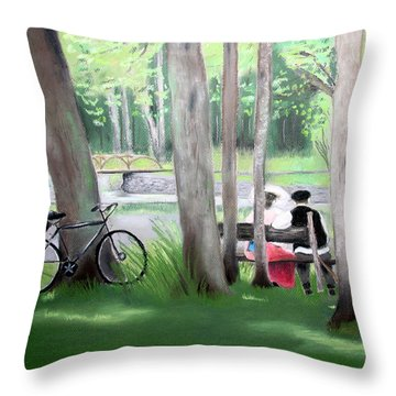 Solace In The Park Throw Pillow by Barbara Gulotta