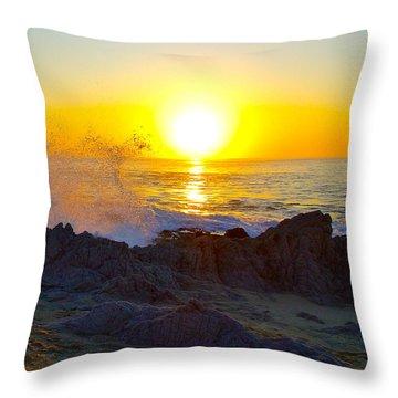 Solar Flare Sunrise On The Sea Of Cortez Throw Pillow