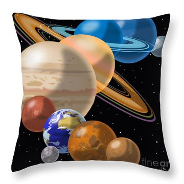 Solar System Throw Pillow by Mark Giles and Photo Researchers
