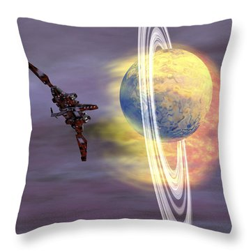 Solar Winds Hit A Ringed Planet Throw Pillow by Corey Ford