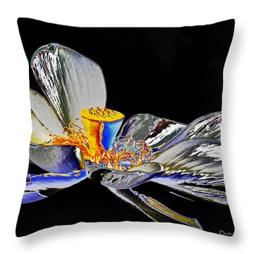 Solarized Lotus B Throw Pillow by Travis Burgess