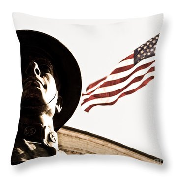 Soldier And Flag Throw Pillow by Syed Aqueel