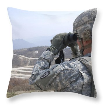 Soldier Observes An Adjust Fire Mission Throw Pillow by Stocktrek Images