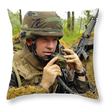 Soldier Using A Ta-1 Sound Powered Throw Pillow by Stocktrek Images