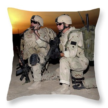 Soldiers Call In Air Support Throw Pillow by Stocktrek Images