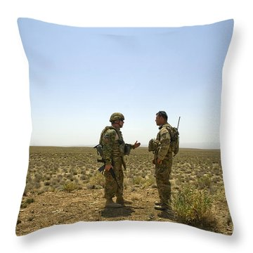 Soldiers Discuss, Drop Zone Throw Pillow by Stocktrek Images