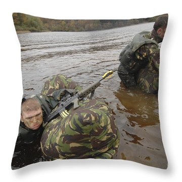 Soldiers Participate In A River Throw Pillow by Andrew Chittock