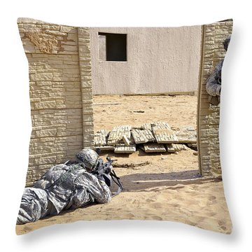 Soldiers Pull Security At A Mock Afghan Throw Pillow by Stocktrek Images