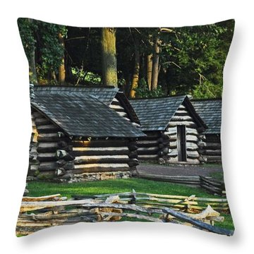 Soldiers Quarters At Valley Forge Throw Pillow by Cindy Manero