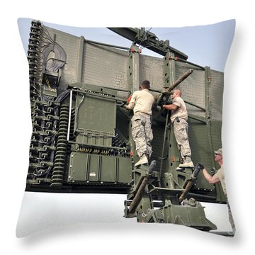 Soldiers Set Up A Tps-75 Radar Throw Pillow by Stocktrek Images