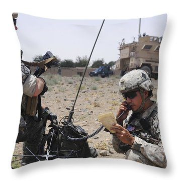Soldiers Setting Up A Satellite Throw Pillow by Stocktrek Images