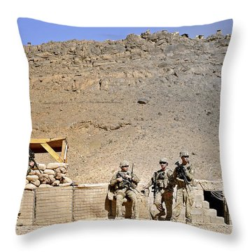 Soldiers Wait For Afghan National Throw Pillow by Stocktrek Images