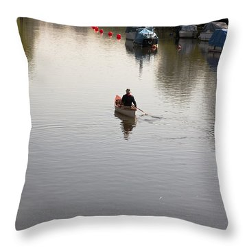 Throw Pillow featuring the photograph Solo Rowing by Maj Seda