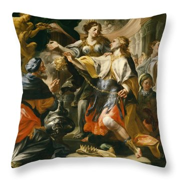 Solomon Worshiping The Pagan Gods Throw Pillow by Domenico Antonio Vaccaro