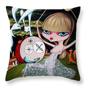 Throw Pillow featuring the painting Something To Bang On About by Leanne Wilkes