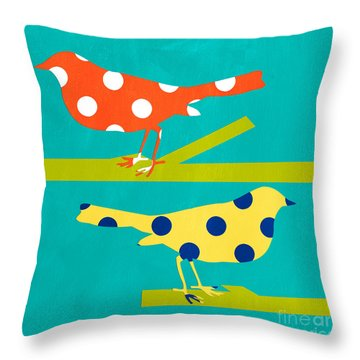 Song Birds Throw Pillow by Linda Woods