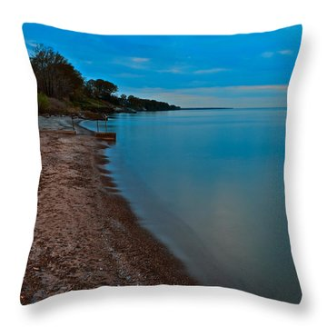 Soothing Shoreline Throw Pillow by Frozen in Time Fine Art Photography