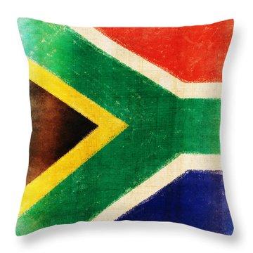 South Africa Flag Throw Pillow by Setsiri Silapasuwanchai