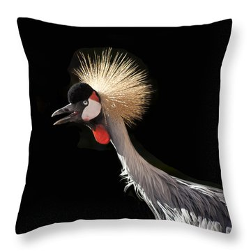 South African Grey Crowned Crane Kaanapali Maui Hawaii Throw Pillow by Sharon Mau