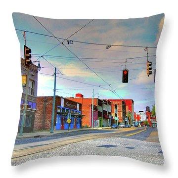 Throw Pillow featuring the photograph South Main Street Memphis by Lizi Beard-Ward
