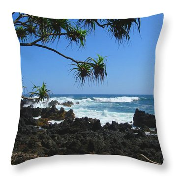 South Shore Of Maui Throw Pillow by Connie Fox