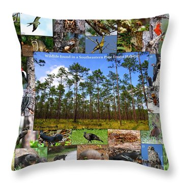 Southeastern Pine Forest Wildlife Poster Throw Pillow