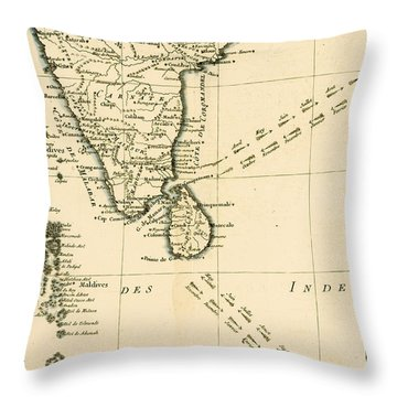Southern India And Ceylon Throw Pillow by Guillaume Raynal