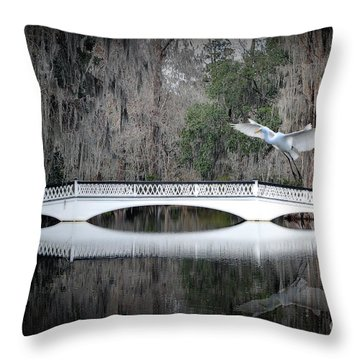 Throw Pillow featuring the photograph Southern Plantation Flying Egret by Dan Friend