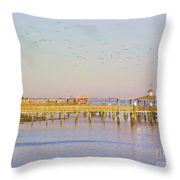 Throw Pillow featuring the photograph Southport Piers by Eve Spring