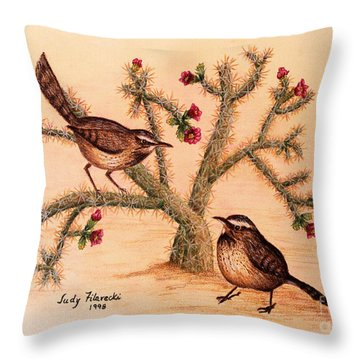 Throw Pillow featuring the painting Southwest Art Cactus Wren by Judy Filarecki