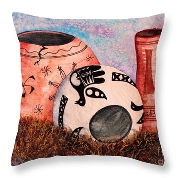 Throw Pillow featuring the painting Southwest Pottery by Judy Filarecki