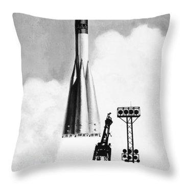 Soviet Soyuz Rocket, 1975 Throw Pillow by Granger