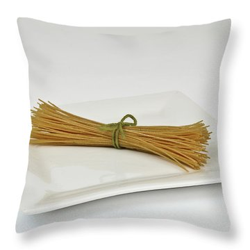 Soybean Spaghetti Throw Pillow by Photo Researchers