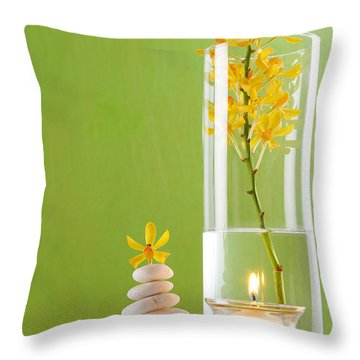 Spa Concepts With Green Background Throw Pillow