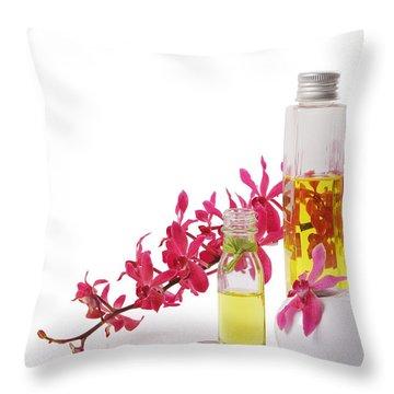 Spa Set With Copy Space Throw Pillow by Atiketta Sangasaeng