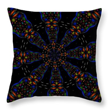 Throw Pillow featuring the digital art Space Flower by Alec Drake