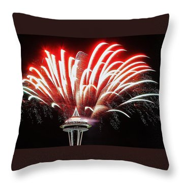 Space Needle Fireworks Throw Pillow by Benjamin Yeager