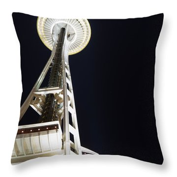 Space Needle Throw Pillow by Heidi Smith