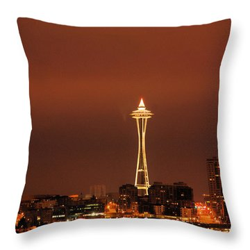 Space Needle Morning Throw Pillow