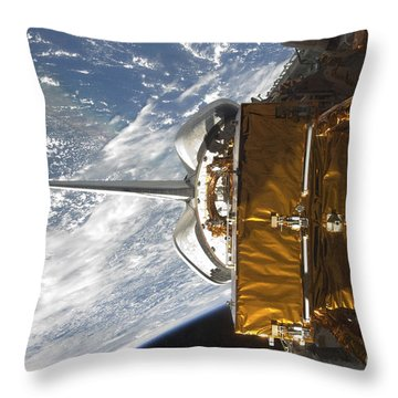 Space Shuttle Atlantis Payload Bay Throw Pillow by Stocktrek Images