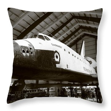 Space Shuttle Endeavour Throw Pillow by Nina Prommer