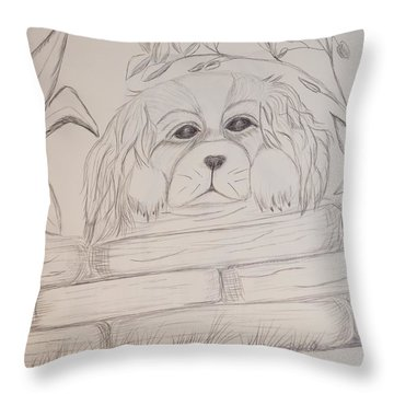 Throw Pillow featuring the drawing Spaniel Pup by Maria Urso