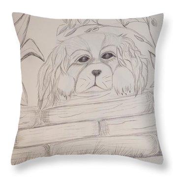 Spaniel Pup Throw Pillow by Maria Urso