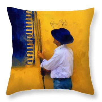 Spanish Man At The Yellow Wall. Impressionism Throw Pillow