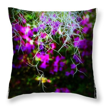 Throw Pillow featuring the photograph Spanish Moss And Azaleas by Judi Bagwell
