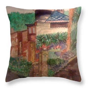 Spanish Villa Throw Pillow by Judi Goodwin
