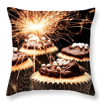 Sparkler Cupcakes Throw Pillow